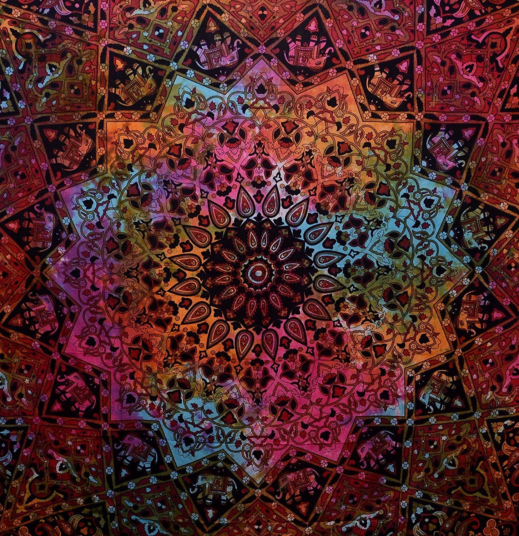 "Jaipur Handloom Tie Dye Hippie Star Elephant Tapestry Bohemian Elephant Mandala Tapestry Wall Hanging Dorm Decor Psychedelic Hippie Hippy Tapestry Beach Coverlet Curtain,92"" x 86"""