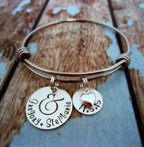Amazoncom Personalized Bracelet Silver Charm Bracelet Wedding