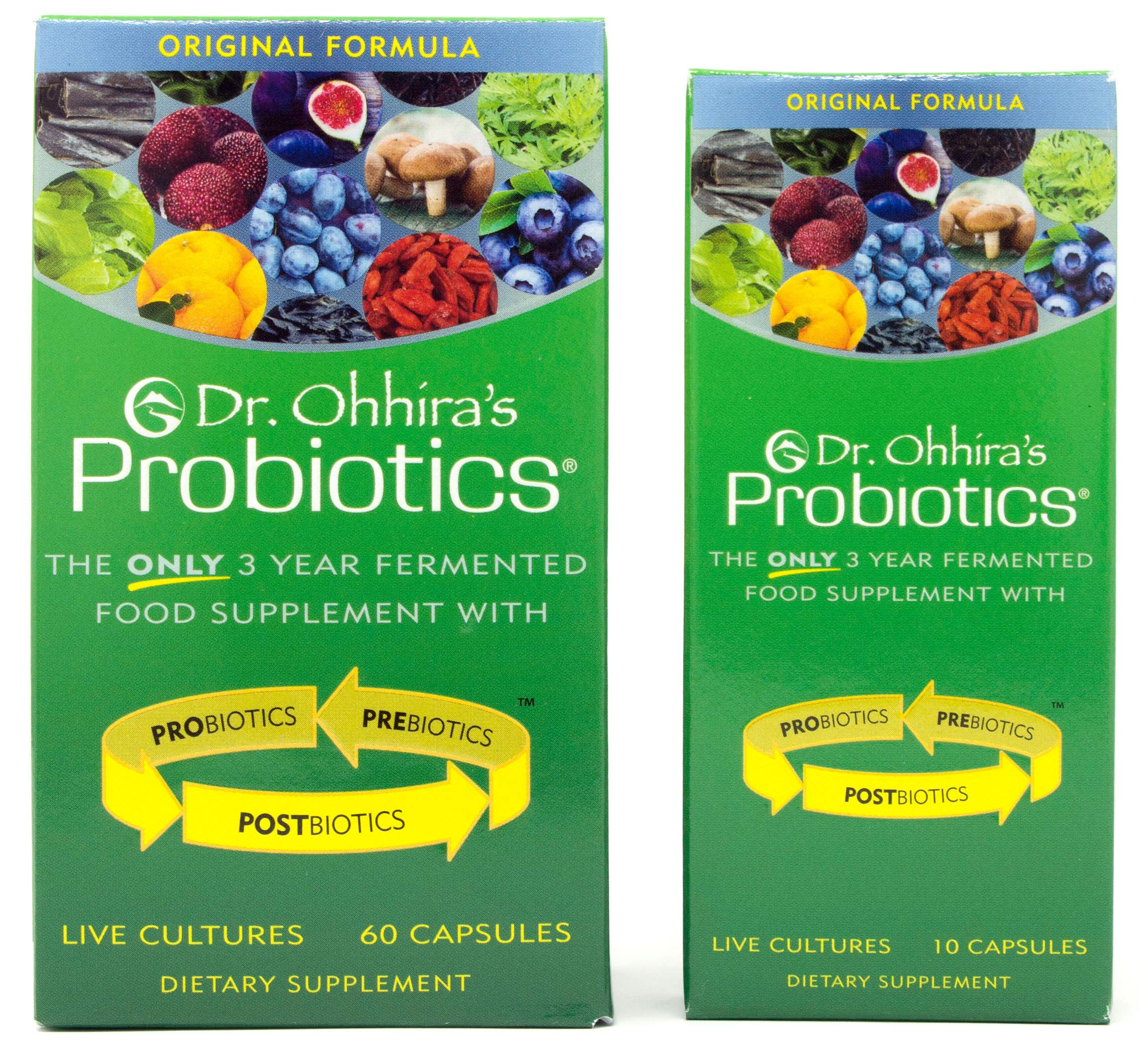 Dr. Ohhira's Probiotics, Original Formula, 60 Caps with Bonus 10 Capsule Travel Pack - 12 Live Strains by Essential Formulas
