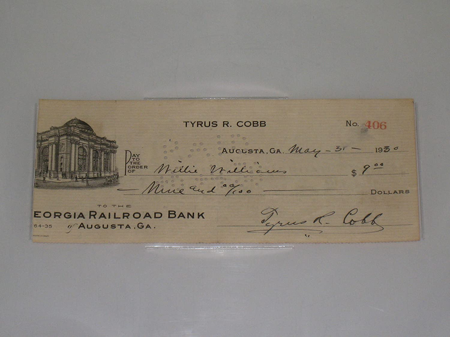 Ty Cobb Autographed 1930 Personal Check - Slabbed with JSA Letter of Authenticity Miller' s Sportscards