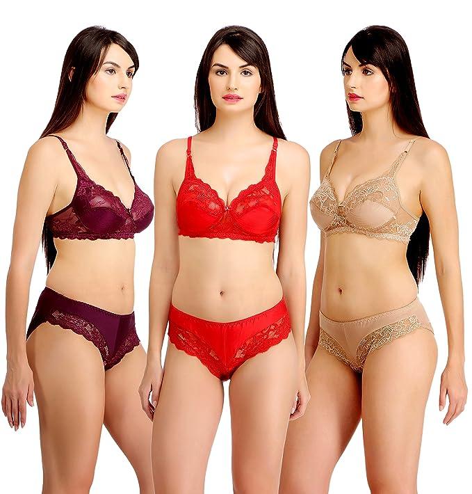 6738826d5b7 Fashion Comfortz Women's Girls Lace Katty Lycra Spandex (4WAY) Bikini Set  for Women