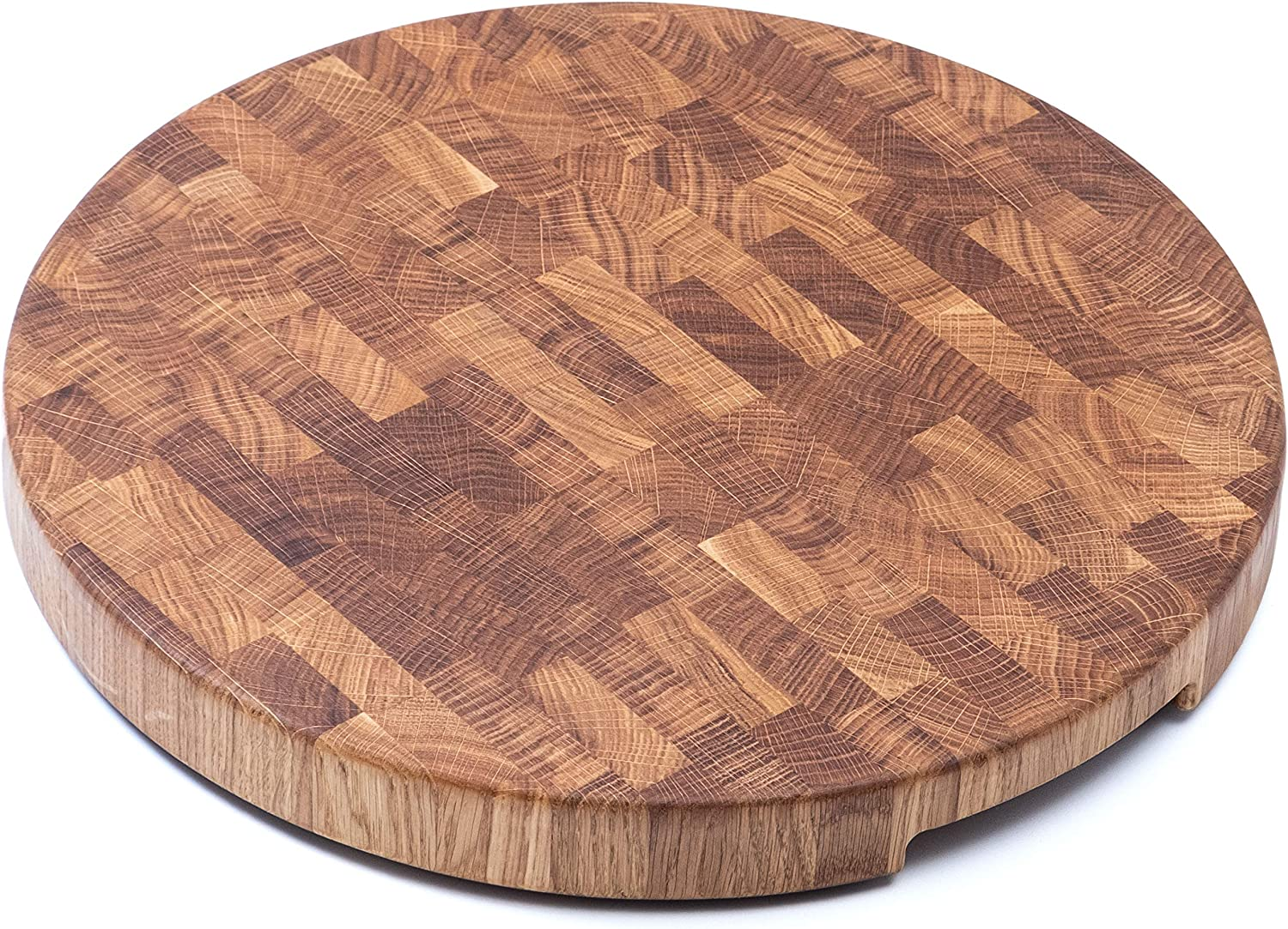 Daddy Chef Round End Grain Wood cutting board 20 x 2 inch - Extra Large - Kitchen Wooden Butcher Block - Chopping Board - Wooden Cheese Carving Board - Oak cutting board with feet (DT R20)