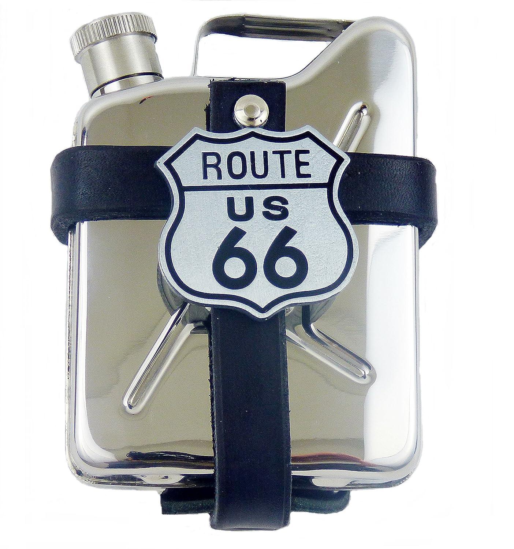 Custodia in pelle con fiaschetta in acciaio inox Route 66 incidur bottigliqa di borsa