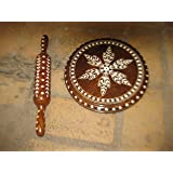 """Indian Chapati or Bread Maker Chakla in Wood with rolling pin 9"""""""