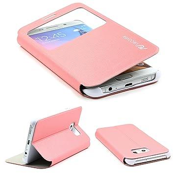 bf6c6c6a4cc Urcover® Funda Compatible con Samsung Galaxy S6 Edge Plus S-View Carcasa  con Tapa Libro Funcion Soporte, Flip Case Delgada protección Pantalla con  Ventana ...