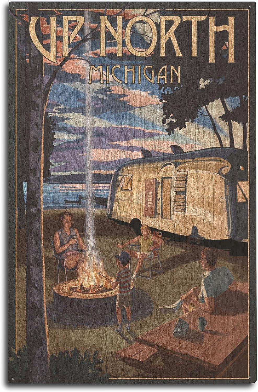 Lantern Press Up North, Michigan, Retro Camper and Lake 72546 (10x15 Wood Wall Sign, Wall Decor Ready to Hang)