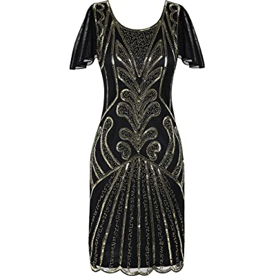 PrettyGuide Women's Flapper Dress 1920s Bead Sequin Cocktail Gatsby Dress with Sleeve S Gold: Clothing