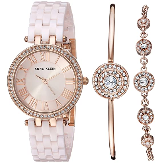Anne Klein AK/3072MACY - Reloj de Pulsera para Mujer con Cristales Swarovski Acentuados, Color Rosa Claro y Rosa: Amazon.es: Relojes