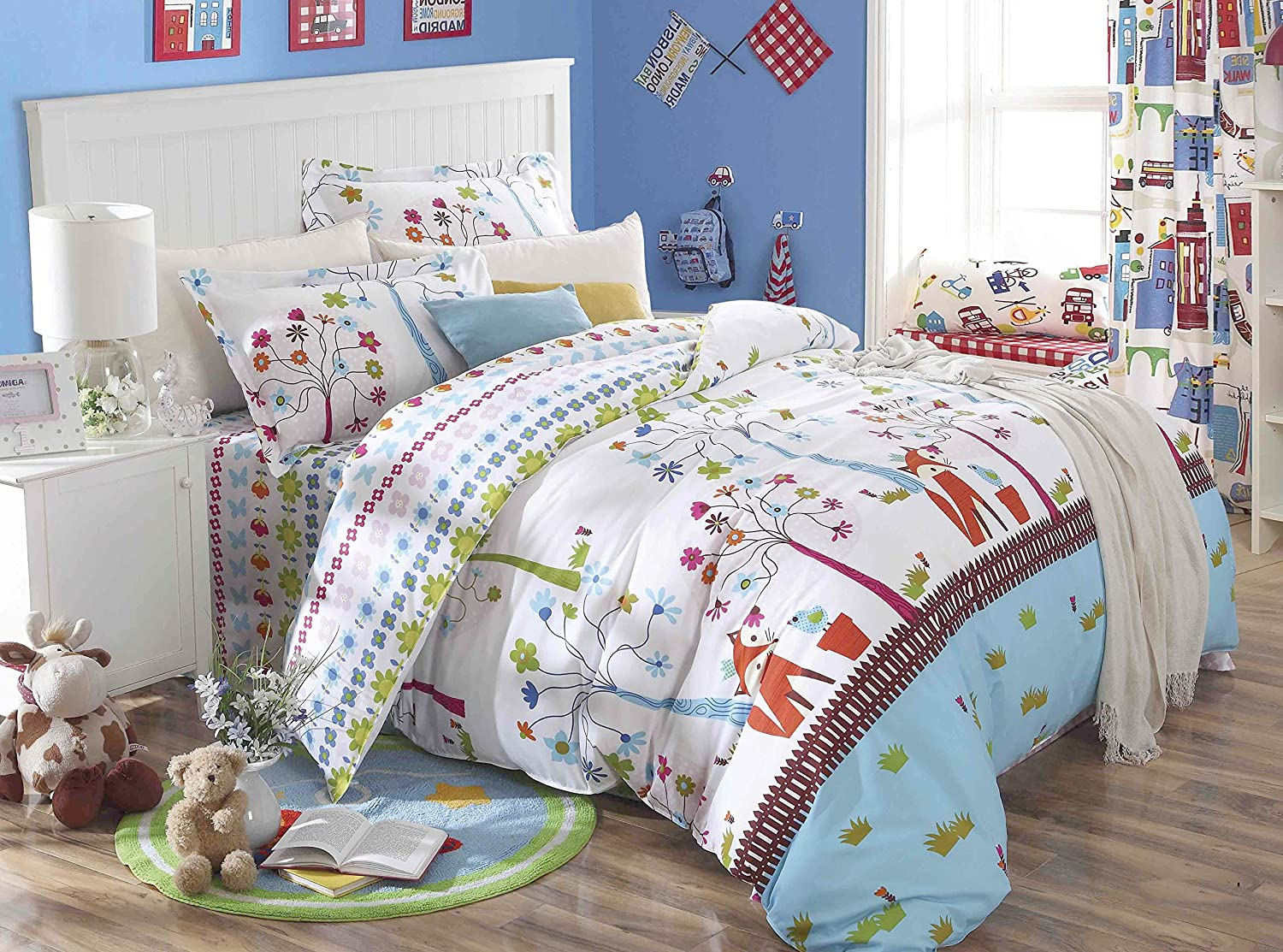 Full size childrens bedding sets - Amazon Com Cliab Fox Bedding Woodland Bed Sheets Full Size Kids Girls Duvet Cover Set 100 Cotton 5 Pieces Home Kitchen