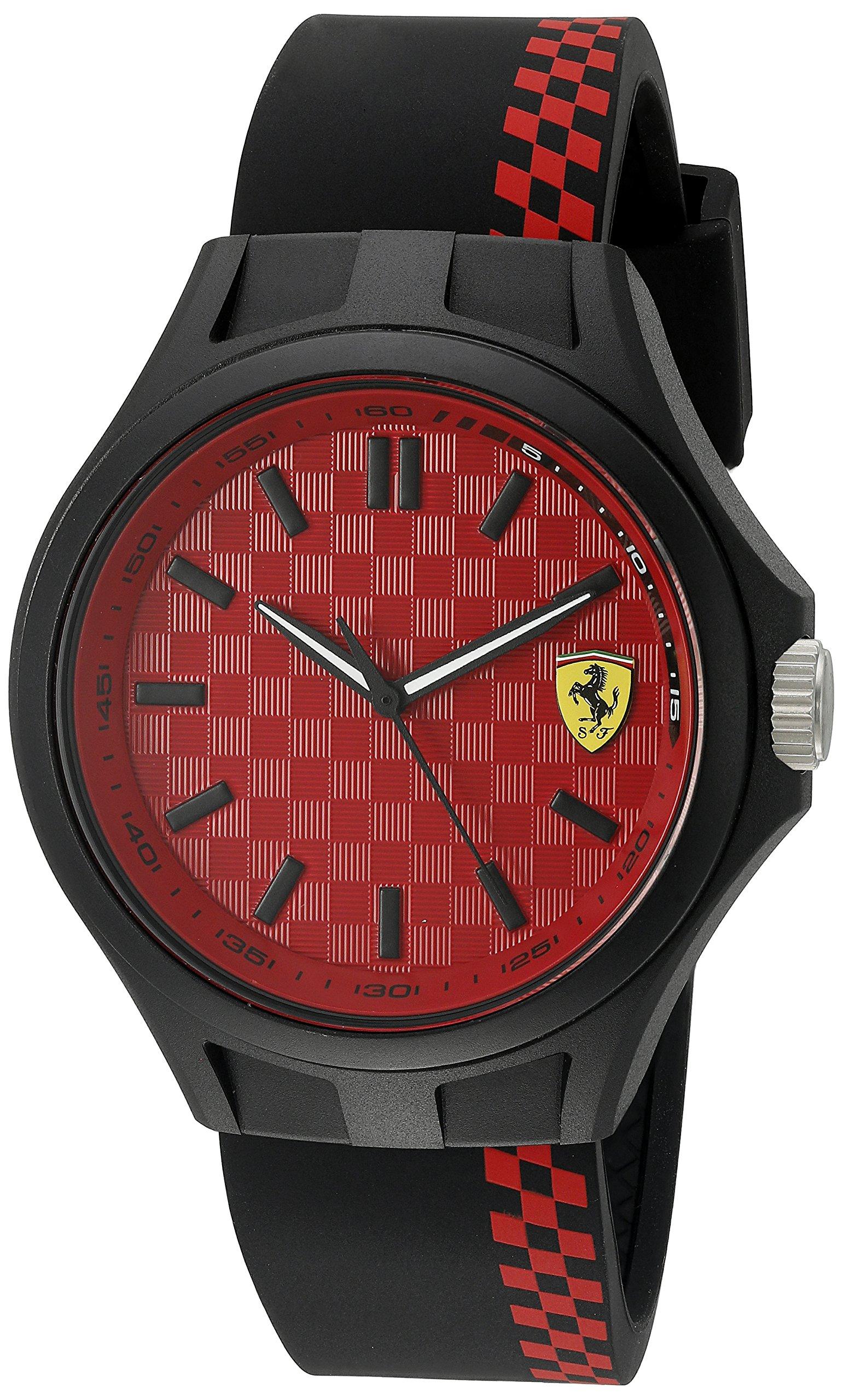 Ferrari Men's Quartz Multi Color Casual Watch (Model: 0830325), Black/Red