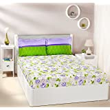 Amazon Brand - Solimo Rose Bloom 144 TC 100% Cotton Double Bedsheet with 2 Complimentary Pillow Covers - Violet