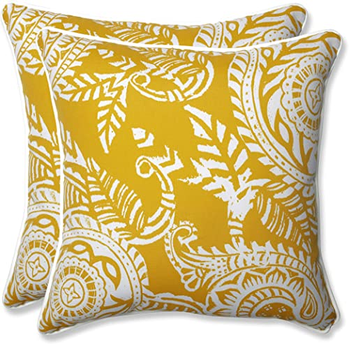 Pillow Perfect Outdoor Indoor Addie Egg Yolk Throw Pillows, 16.5 x 16.5 , Yellow, 2 Pack