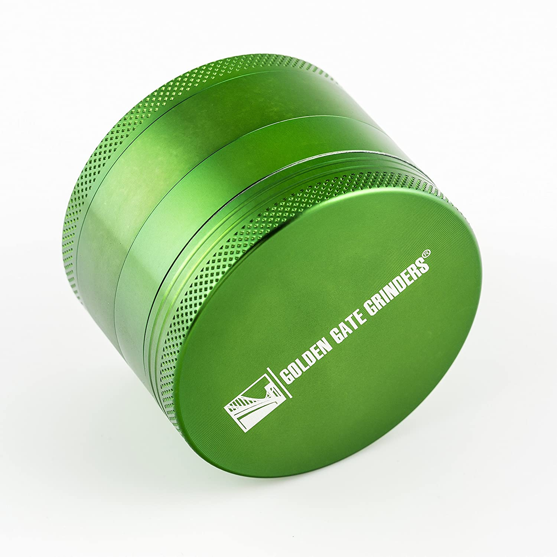 Green, Large Golden Gate Grinder 2.5 Inch Ultimate Herb Grinder 4-piece Anodized Aluminum