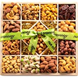 Gourmet Gift Basket, Fresh Nut Assortment Wood Tray (13 Mix) - Variety Care Package, Birthday Party Food, Holiday…