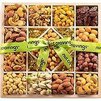 Holiday Nut Gift Basket, Wood Tray Green Ribbbon (13 Mix) - Thanksgiving, Christmas Food Arrangement Platter, Variety…