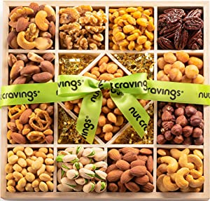 Gourmet Nut Gift Basket, Wood Tray Green Ribbbon (13 Mix) - Easter Food Arrangement Platter, Care Package Variety, Prime Birthday Assortment, Healthy Kosher Snack Box for Women, Men, Adults