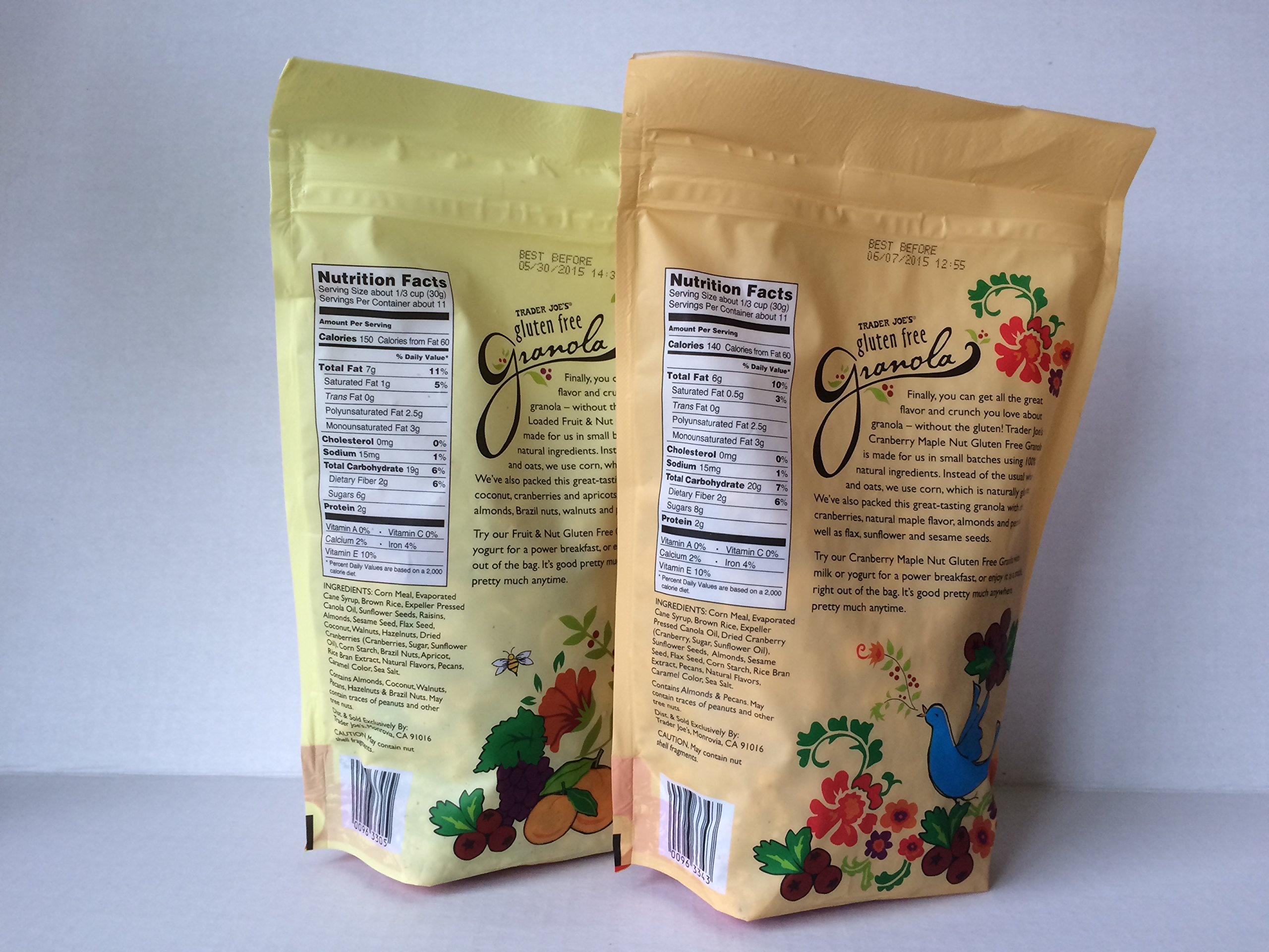 Trader Joes Loaded Fruit and Nut Granola & Trader Joes Gluten Free Cranberry Maple Nut Granola Bundle (2 Items)