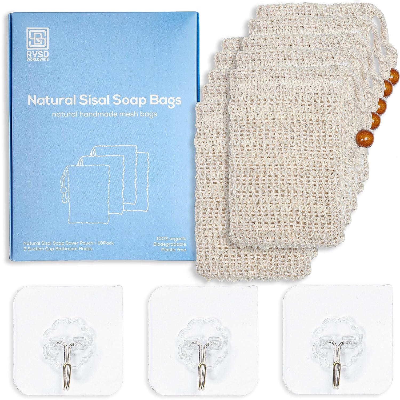 10 Pack Premium Exfoliating Mesh Bags Pouch Soap Saver for Massaging & Scrubbing   100% Natural Organic Ramie Soap Sock Bag Sisal Loofah Net Bags with Drawstring for Bath & Shower   BONUS 3 Wall Hooks