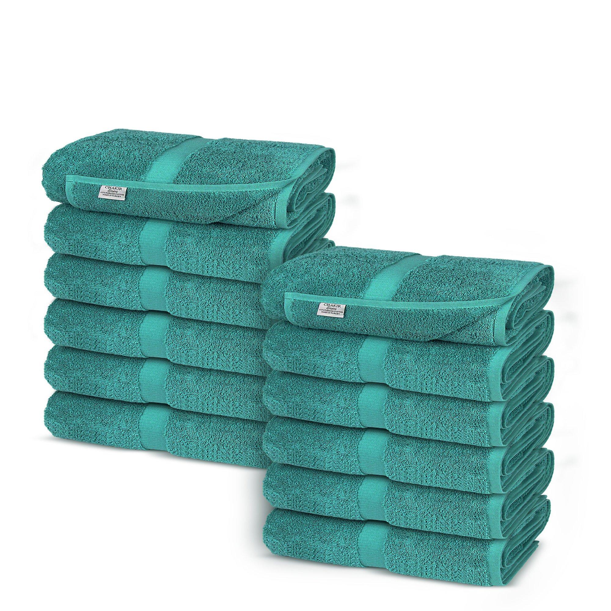 Chakir Turkish Linens Turkish Cotton Luxury Hotel & Spa Bath Towel, Wash Cloth - Set of 12, Aqua