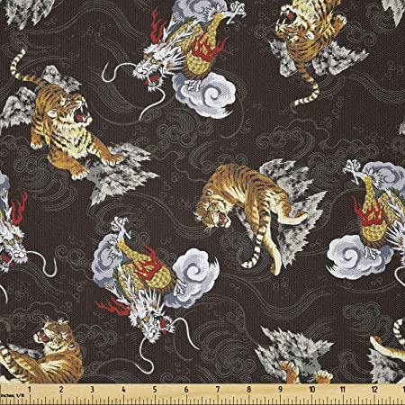 Amazon Com Lunarable Dragon Fabric By The Yard Ferocious Fantasy Dragon And Tiger Between Smokes And Black Background Microfiber Fabric For Arts And Crafts Textiles Decor 1 Yard Coffee Black