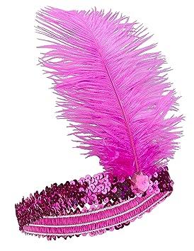 a0e2d648 Diadema Charlestón lentejuelas y pluma rosa mujer: Amazon.es ...