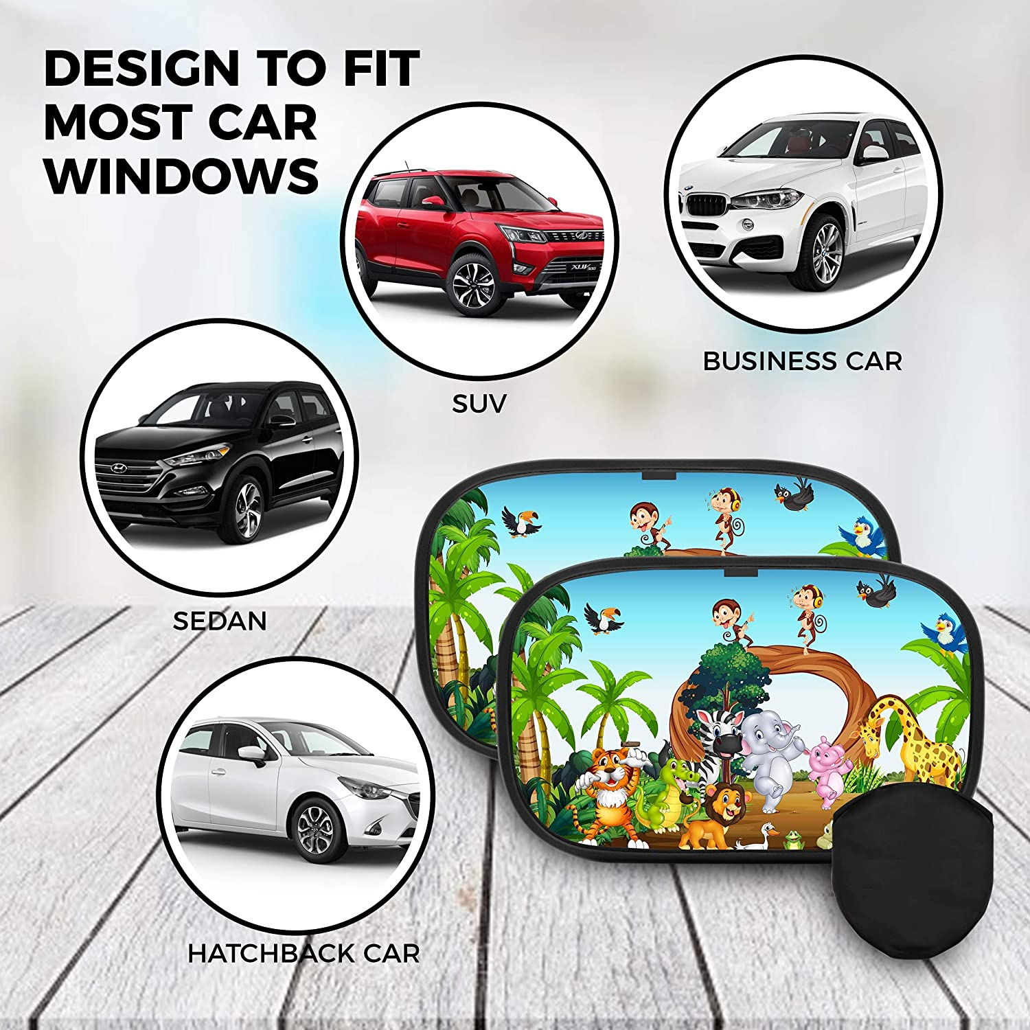 2 Pack Vehicle Window Blinds for Sun-Rays Protection Car Sun Shade for Kids Premium /& Durable Sunshades for Pets and Children Great Traveling Foldable Cling UV Blocker for Toddlers