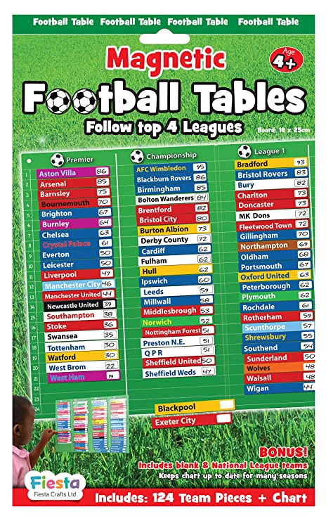 Fiesta Crafts Football Table Magnetic Activity Chart Amazoncouk Toys Games