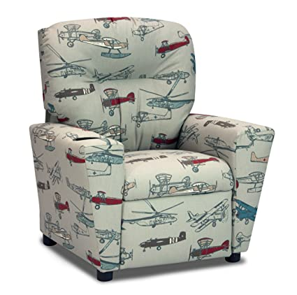 Childrens Recliner With Cup Holders, Vintage Airplanes Fabric Upholstered  Childu0027s Reclining Armchair, Kids Furniture