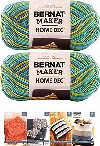 Bernat Maker Home Dec Corded Yarn Bundle 2 Skeins with 4 Patterns 8.8 Ounce Each Skein (Pacific Varg)