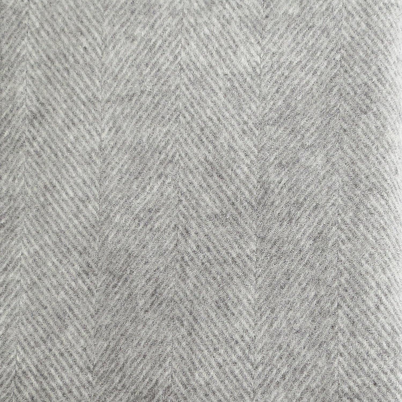 Long plaid en pure laine  à chevrons cr ème-gris, 130x220cm avec franges,  100 % laine vierge ... f1bc31386a2