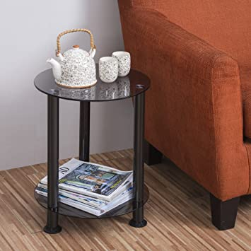 Amazoncom Fitueyes Grey Glass End Table Accent Side Table Coffee
