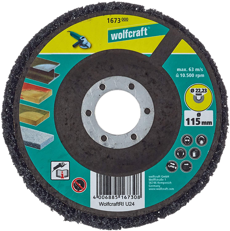 Wolfcraft 1673000 (L) disco de limpiar universal para amoladora PACK 1, 115x22mm