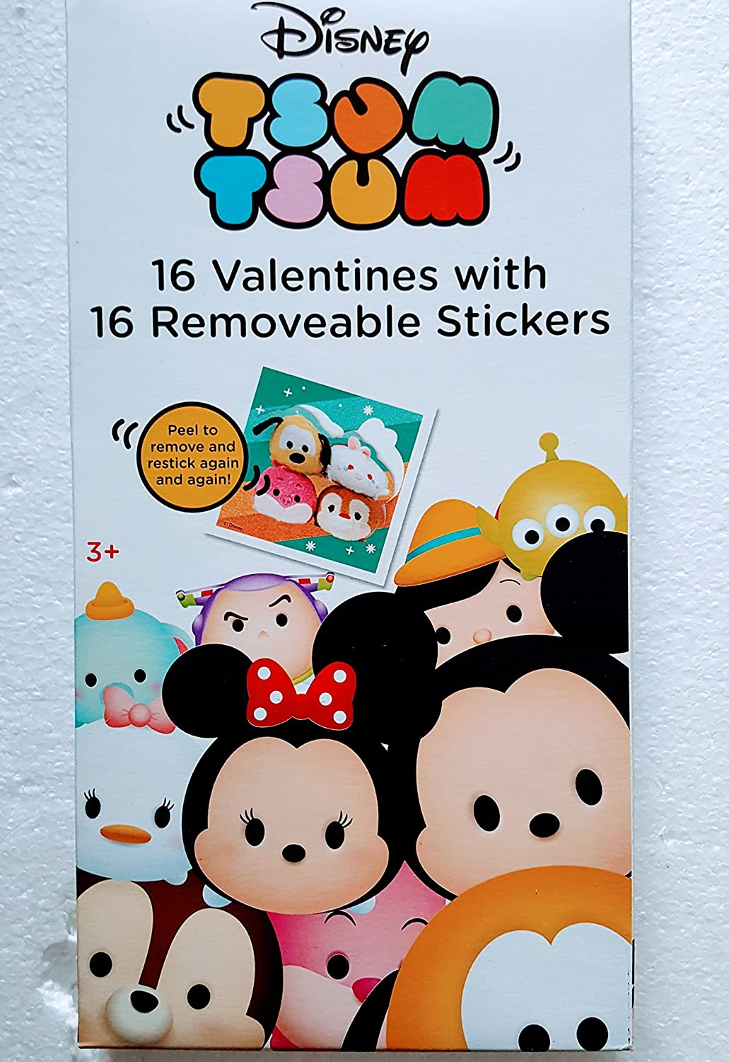 Disney Tsum Tsum 16 Valentines with 16 Removable Stickers ok to Peel to Remove and restick Again and Again