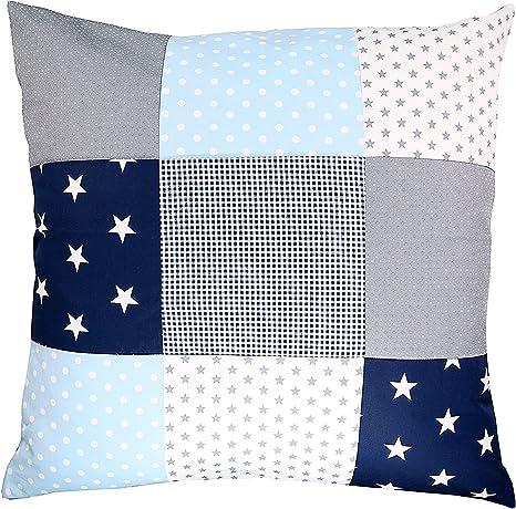 Funda patchwork para cojín de ULLENBOOM ® con azul claro azul gris ...