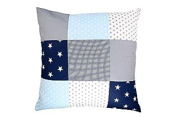 Funda patchwork para cojín de ULLENBOOM ® con azul claro azul gris (funda para cojín de 60 x 60 cm; 100% algodón; ideal como cojín decorativo o de ...