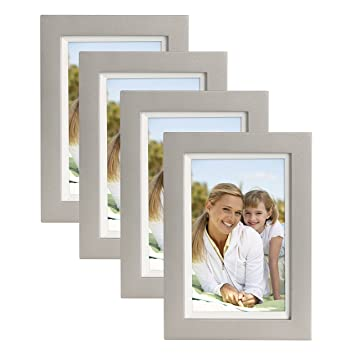 Amazoncom Muse 4x6 Wood Picture Frame Silver And White Pack Of 4
