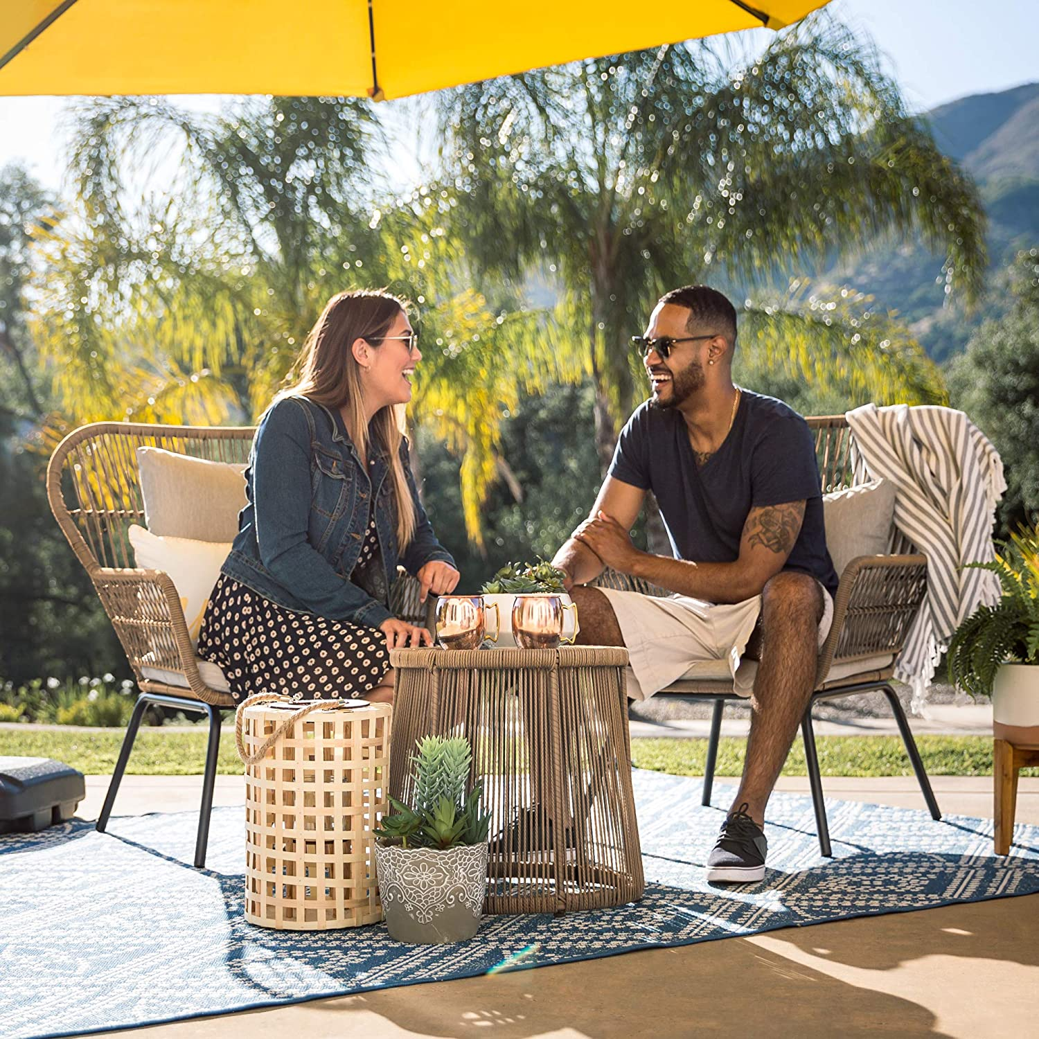 Best Choice Products 3-Piece Patio Wicker Conversation Bistro Set w// 2 Chairs Gray Cushions Glass Top Side Table