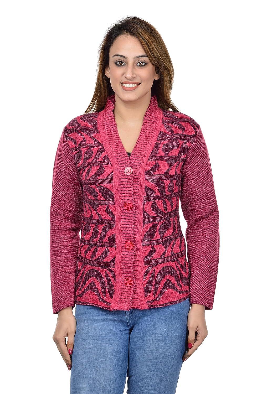 6b276dd745 Pilot Women s Full Sleeve Woollen Cardigan (Pink
