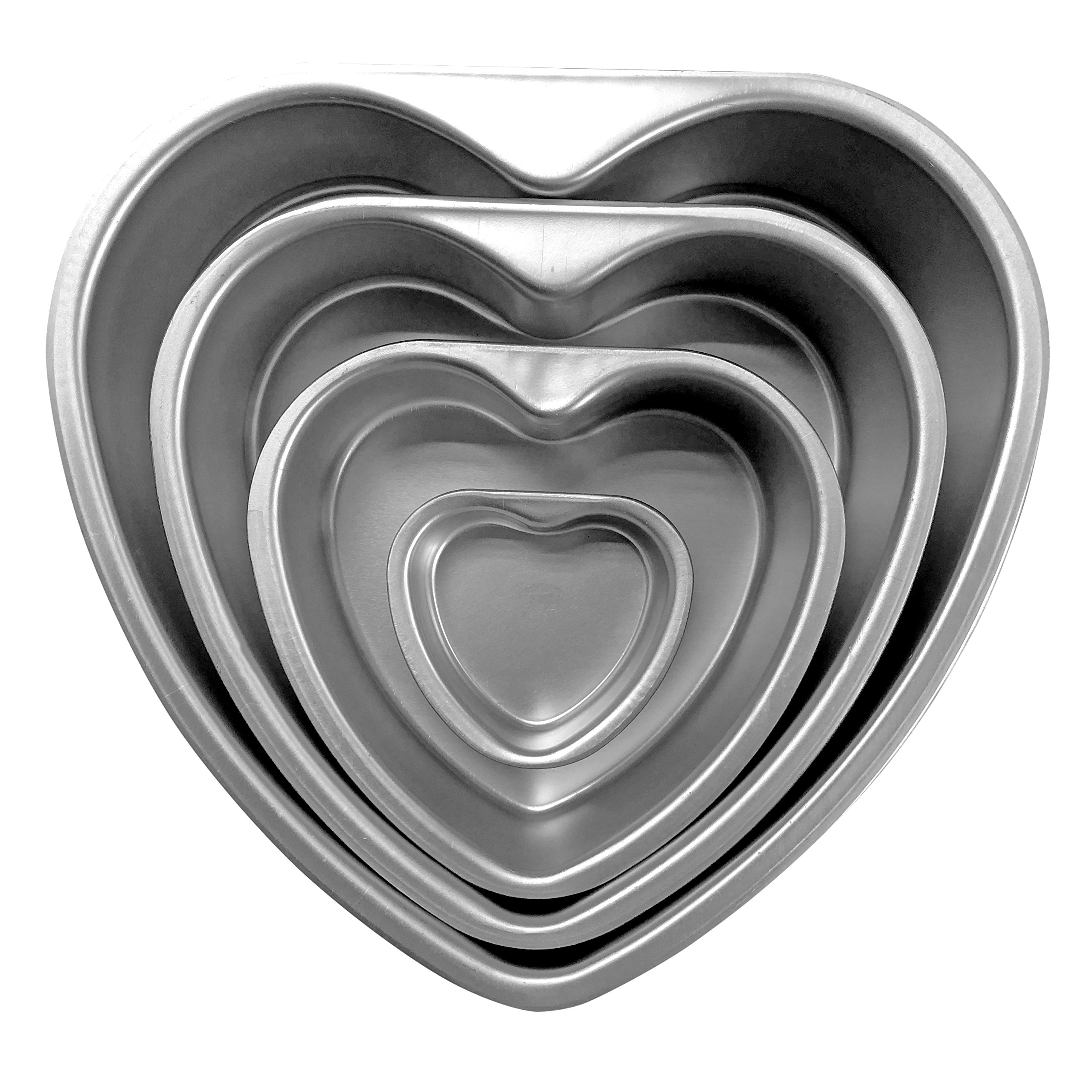 Cherion 4PC Aluminium Heart Shaped Cake Pan Set with Removable Bottom for Valentine's Day - 5'' 6'' 8'' 10'' by Cherion (Image #2)