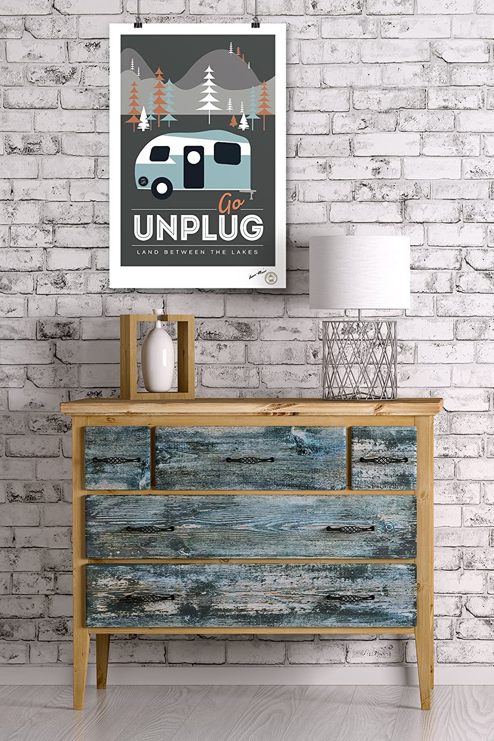Retro Camper - Vector Style 24x36 Giclee Gallery Print, Wall Decor Travel Poster Go Unplug Land Between the Lakes
