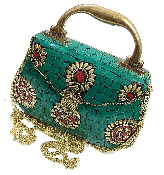 gauri Embrague étnico bolsa de metal embrague de metal monedero del mosaico Embrague de la vendimia Regalo hecho a mano Bolso indio Bolso de fiesta Embrague nupcial (Green Stone)