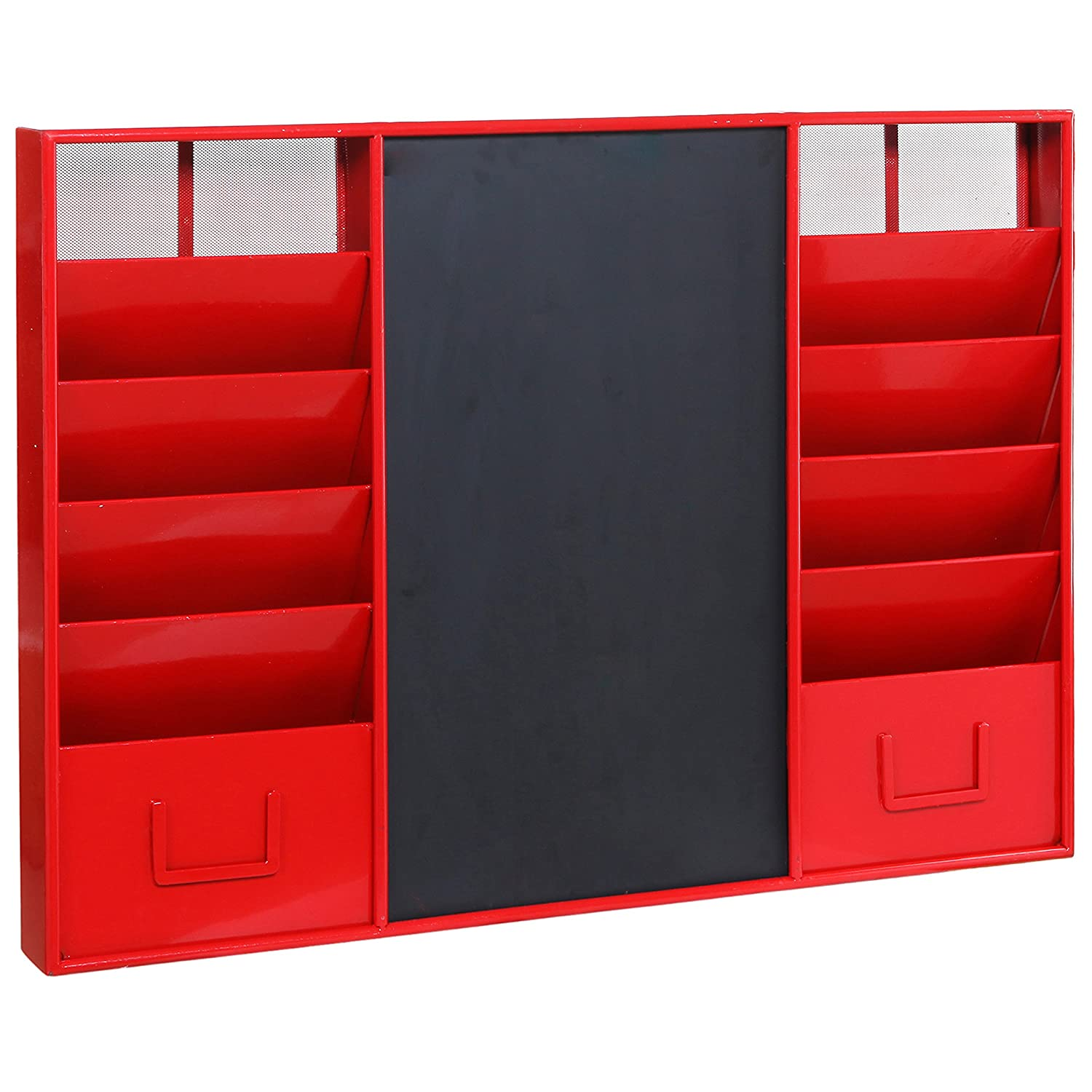 Superior Modern Wall Mounted Red Metal Memo Message Chalkboard / 10 Slot Document  Organizer U0026 Mail Sorter Rack: Amazon.co.uk: Office Products