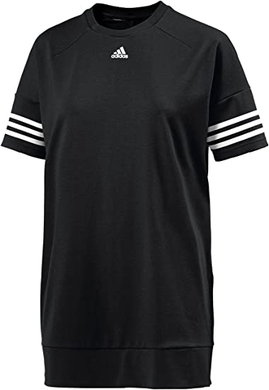adidas Originals Women Black Longline Loose Sweatshirt Logo Tee T-Shirt (XS) 6d8a97b648c70