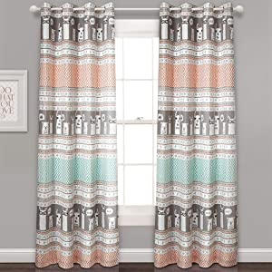"Lush Decor Llama Stripe Curtains Pattern Room Darkening Window Panel Set for Living, Dining, Bedroom (Pair), 84"" x 52"", Turquoise & Pink"