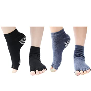 Wisdompro 2 Pairs sin Dedos Calcetines sin Dedos Yoga Calcetines con Agarre Antideslizante para Mujeres y Hombres