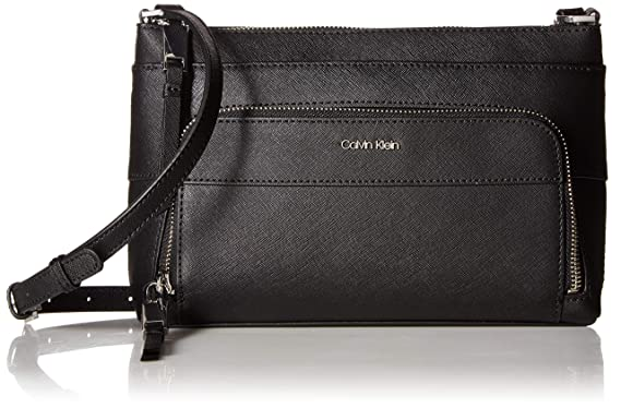 9576ffee7 Calvin Klein Lily Saffiano Leather Top Zip Crossbody, Black/Silver ...