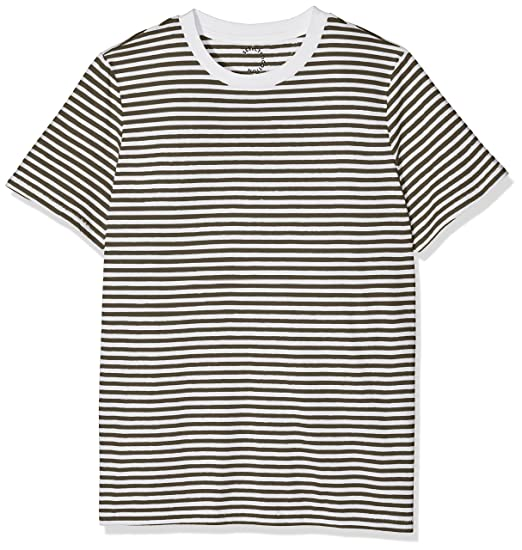 Sfmy Perfect SS Tee-Box Cut-STRI. Noos, T-Shirt Femme, Blanc (Bright White Stripes:Sky Way), 34 (Taille Fabricant: X-Small)Selected