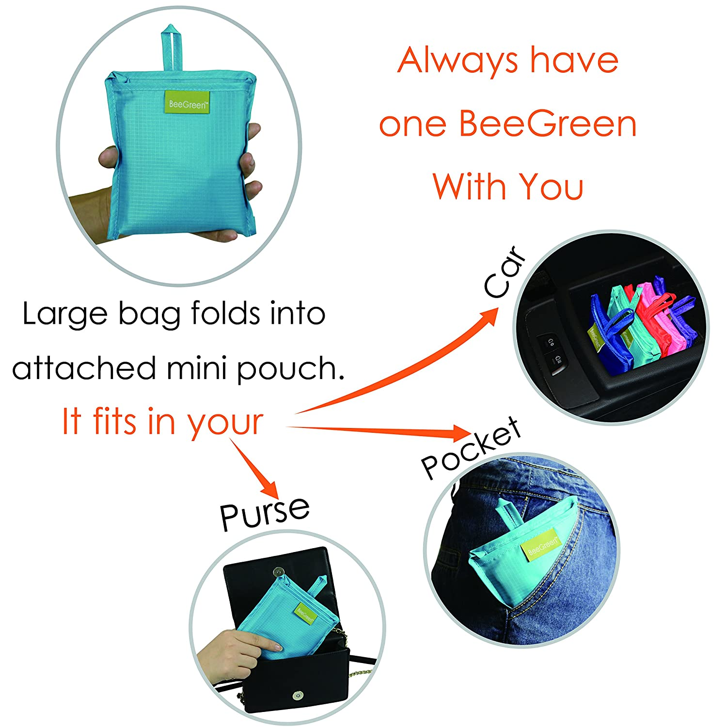 amazoncom reusable grocery bags set of 5 grocery tote foldable into attached pouch ripstop polyester reusable shopping bags washable