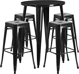 Flash Furniture 30'' Round Black Metal Indoor-Outdoor Bar Table Set with 4 Square Seat Backless Stools