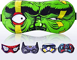 Kid Sleeping Mask for Children Boy Man - Sleep mask 100% Soft Cotton - Comfortable Eye Sleeping Mask Night Cover Blindfoldfor Travel Airplane (Hulk Green, Gift Pack)